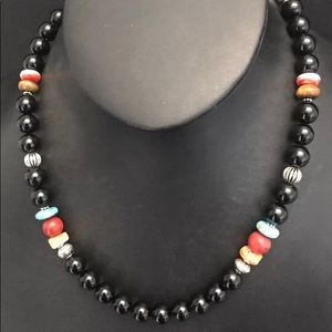 Sterling Silver Black Onyx Bead Necklace 19 Inch